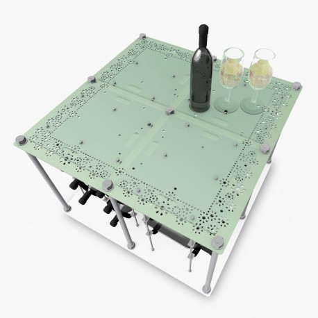 Retro Romantic Island CAVA | Wine Rack Tasting Table