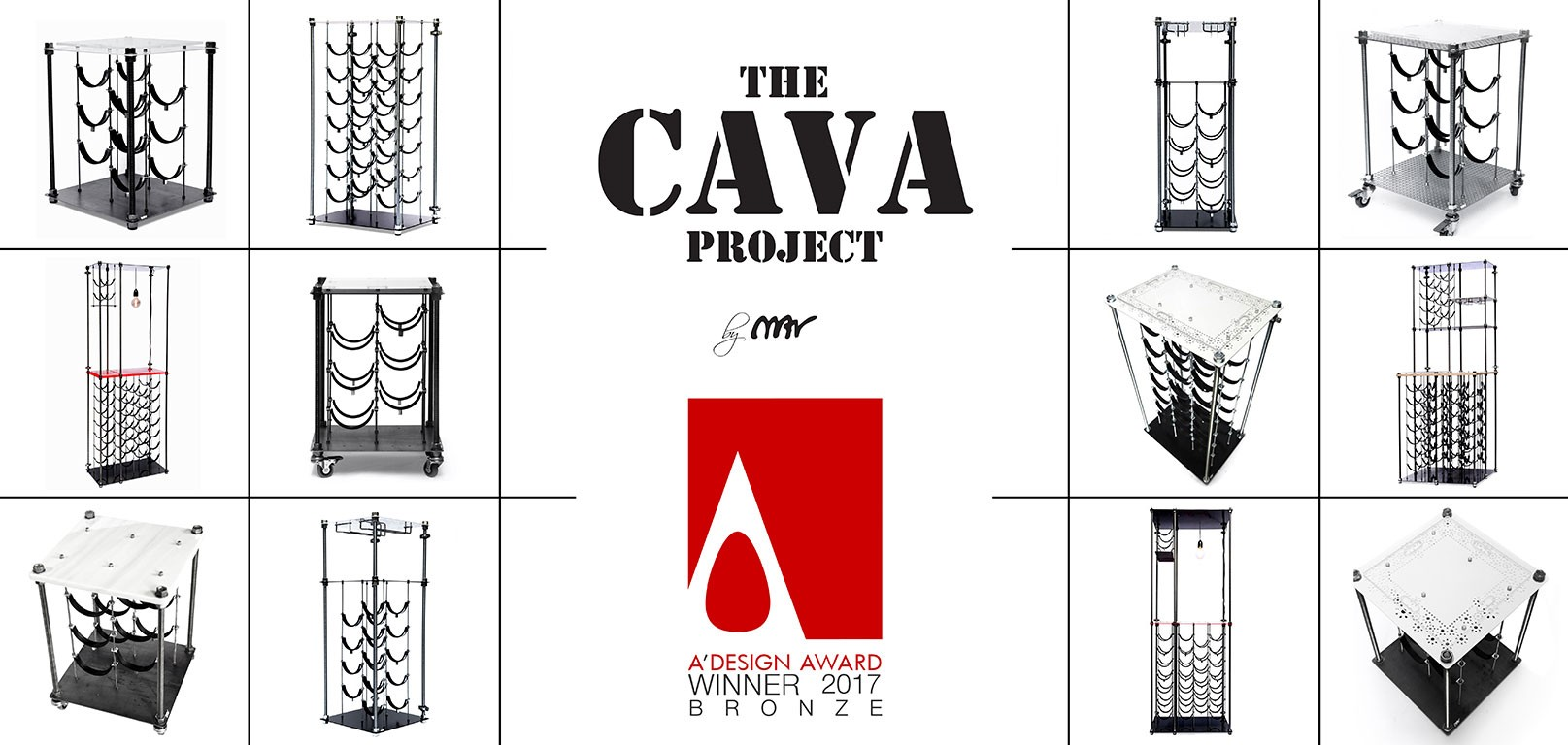 The Cava Project Multifunctional Wine Rack by Mariza Tsiligkiridi is Winner in Furniture, Decorative Items and Homeware Design Category, 2016 - 2017.