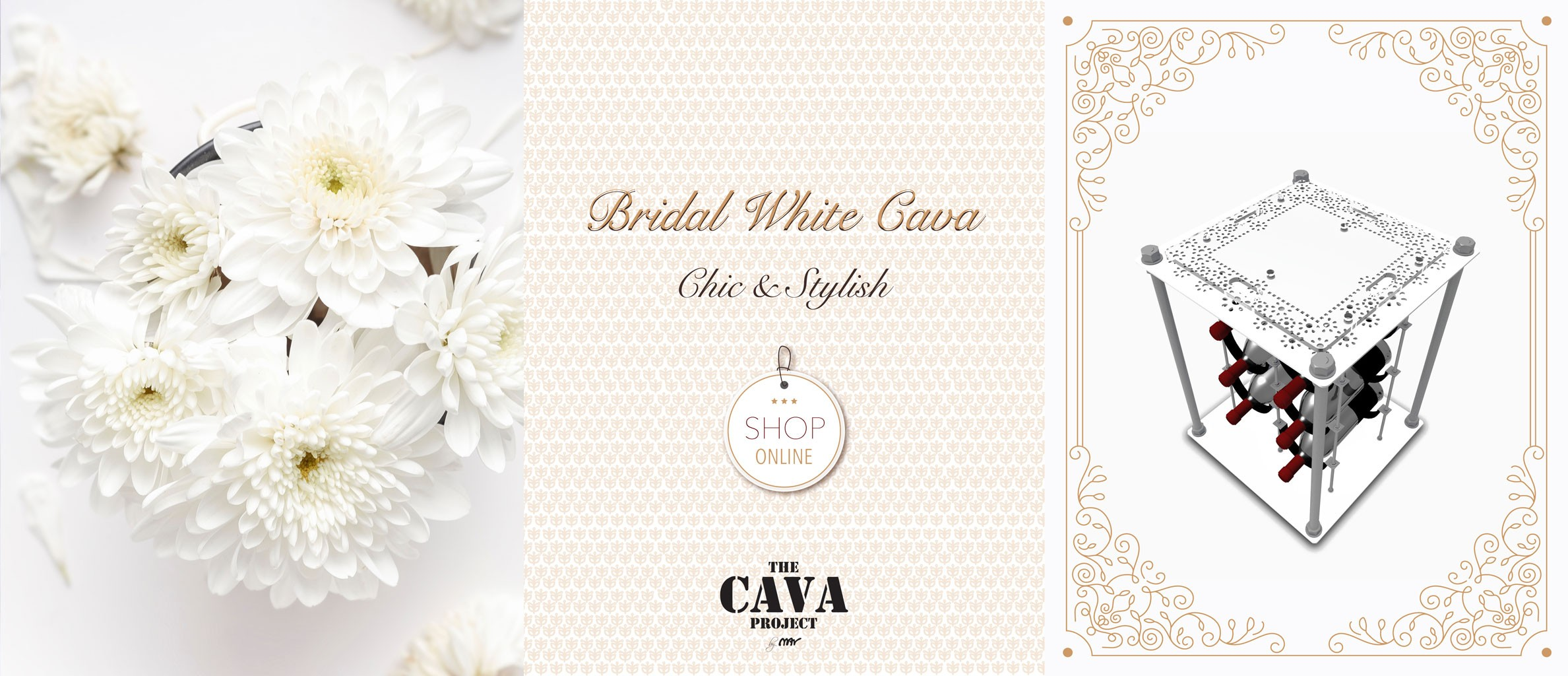 Bridal White CAVA | Wine Rack Side Table