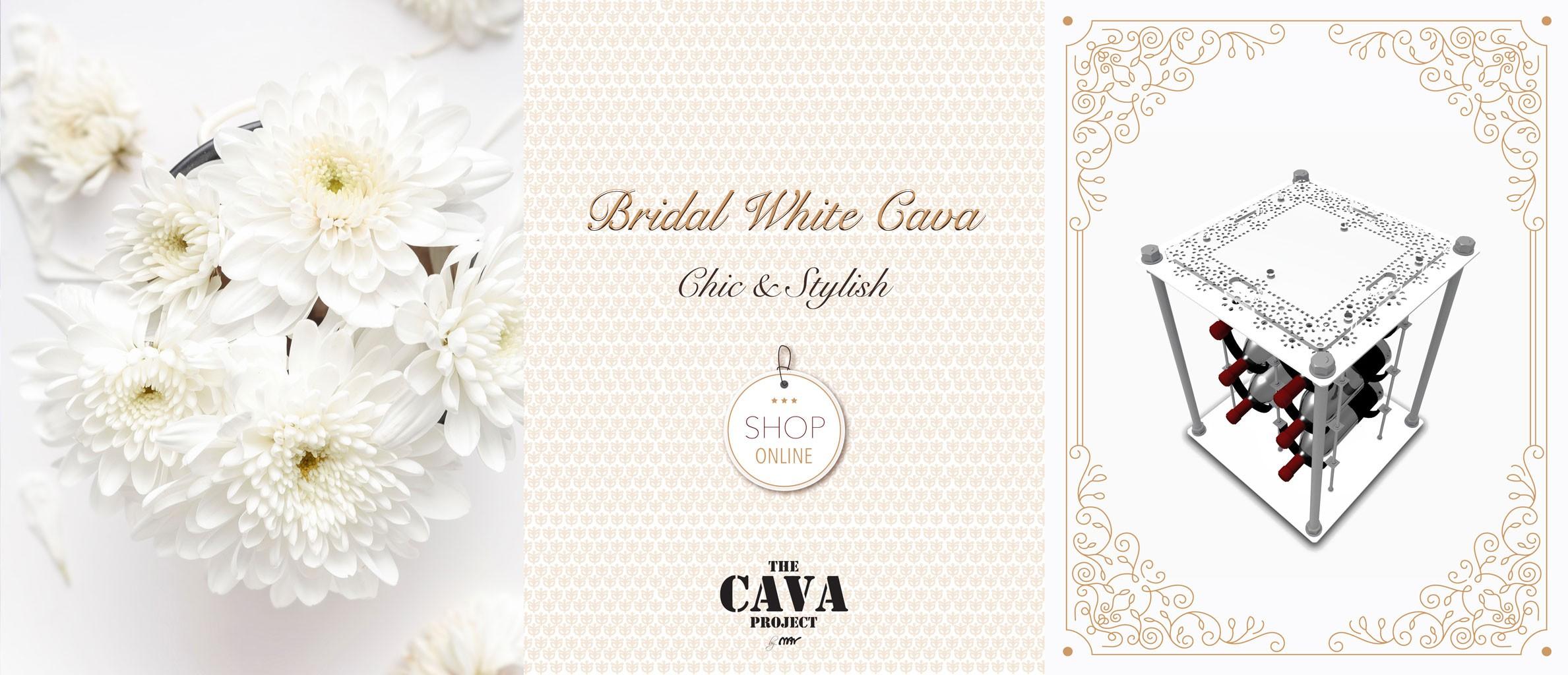 Bridal White CAVA | Wine Rack Side Table